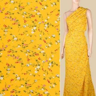Поплін жовтий яскравий, дрібні трояндочки, ш.150 оптом