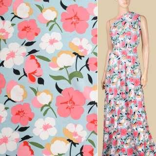 Поплін блакитний, білі, рожеві квіти, ш.150 оптом