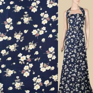 Поплін синій темний, білі квіти, ш.151 оптом