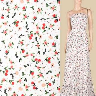 Поплін білий, червоні, персикові квіточки, ш.152 оптом
