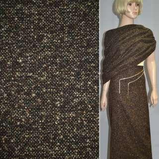 Букле коричнево-черное с золотым люрексом ш.150 оптом