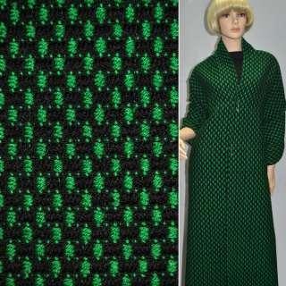 Тканина букле-рогожка чорна з зеленим ш.140 оптом