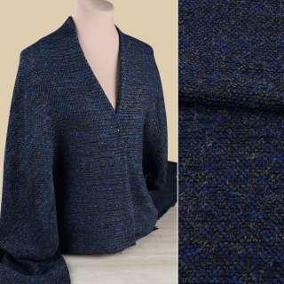Рогожка букле пальтова з вовною чорно-синя, ш.145 оптом