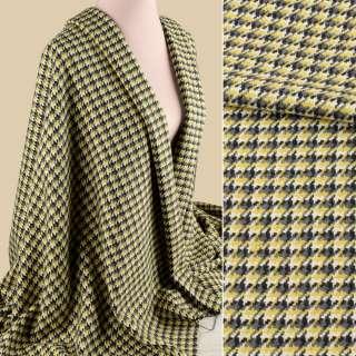 Рогожка пальтова гусяча лапка жовто-сіра, ш.148 оптом