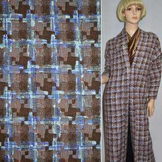 Ткань костюмная коричневая в квадрат и фиолетовые полосы оптом