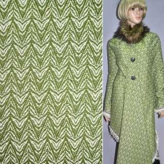 Рогожка пальтова ялинка зелено-біла, ш.150 оптом