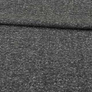 Рогожка букле костюмна чорно-сіра ялинка меланж, ш.153 оптом