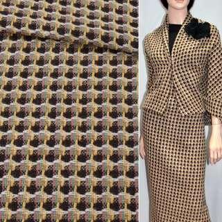Тканина костюмна коричнева з біло-жовтими смугами ексклюзив, ш.150 оптом