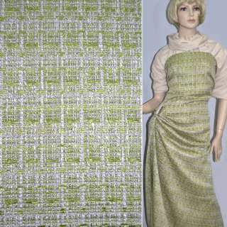 Тканина костюмна світло-бежева з салатовой ниткою оптом