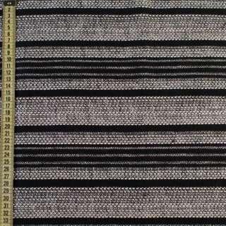 Рогожка черная в белые меланжевые полоски, ш.145 оптом