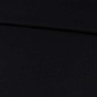 Рогожка стрейч черная в рельефную клетку, ш.130 оптом