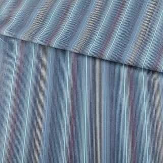 Ткань рубашечная голубая в серо-сине-бежевые полоски ш.145 оптом