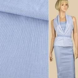 Ткань рубашечная стрейч бело-голубая ш.140 оптом