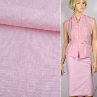 Ткань рубашечная стрейч бело-розовая ш.143 оптом