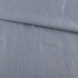 Ткань рубашечная синяя темная в узкую белую полоску ш.147 оптом