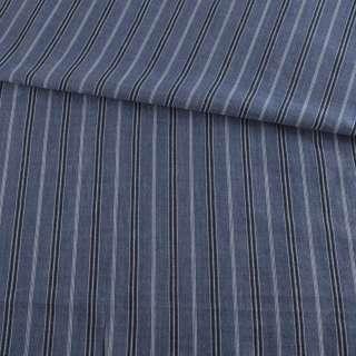 Ткань рубашечная синяя в черно-голубую полоску, ш.145 оптом
