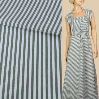 Ткань рубашечная в бело-зеленую полоску 6мм, ш.150 оптом