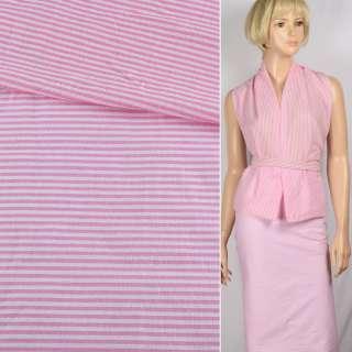 Ткань рубашечная  в бело-розовую поперечную полоску, ш.145 оптом