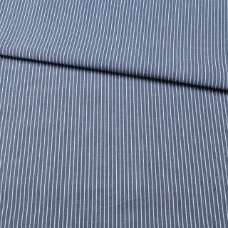Ткань рубашечная синяя в тонкую белую полоску, ш.150 оптом