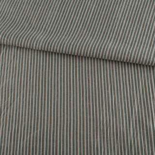 Ткань рубашечная серая в бежевую и оранжево-голубую полоску, ш.145 оптом