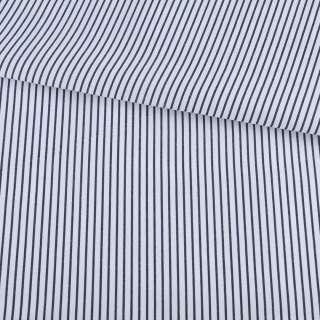 Ткань рубашечная белая в узкую синюю полоску ш.150 оптом