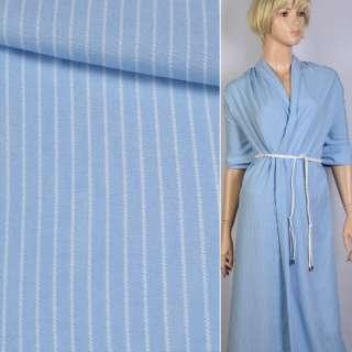 Вискоза рубашечная голубая светлая в белую полоску 5*1 ш.140 оптом