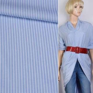 Вискоза рубашечная голубая в белую полоску 4*1мм ш.140 оптом