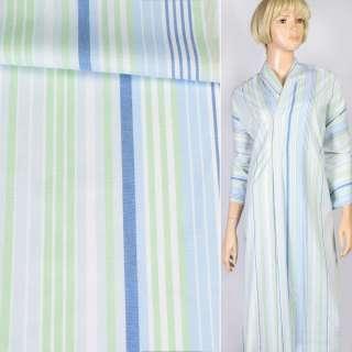 Ткань рубашечная белая в синюю, голубую, салатовую полоску, ш.145 оптом