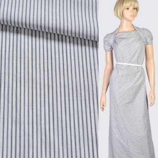 Ткань рубашечная белая в темно-синюю полоску, ш.150 оптом