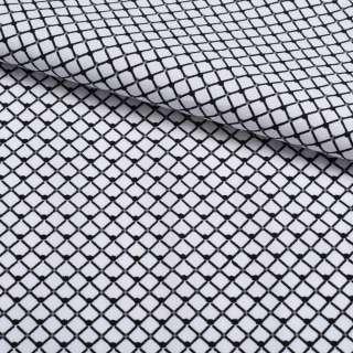 Коттон белый в черную сетку 5мм ш.140 оптом
