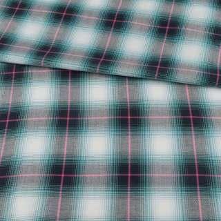 Шотландка в бірюзово-білу клітинку ш.150 оптом