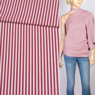 Вискоза рубашечная белая в красную полоску 4мм, ш.147 оптом