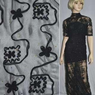 Сетка стрейч черная с настроченными черными цветами и бусинами оптом