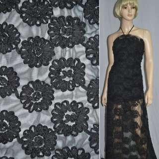 Сетка черная с нашитыми черными цветами из тафты оптом