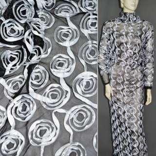Сітка стрейч чорна з білими квітами, ш.140 оптом