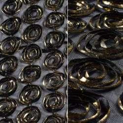 стр-сетка черная с золотыми цветами, ш.140 оптом