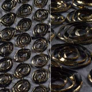 Сетка стрейч черная с золотыми цветами, ш.140 оптом