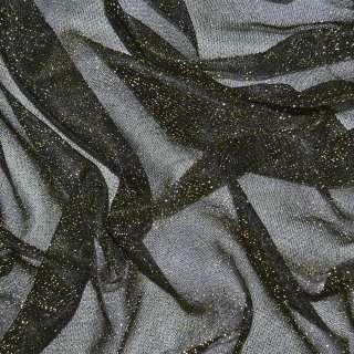 Трикотаж черный с золотым люрексом ш.110 оптом