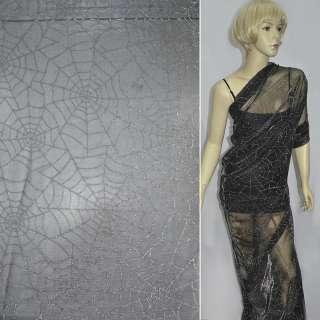 Сітка трикотажна павутина чорна з срібною метанітью ш.160 оптом