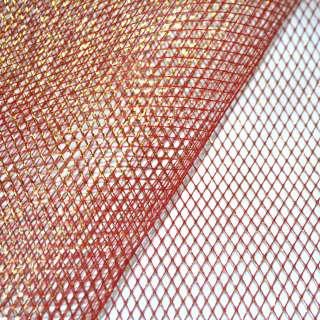 сетка красная с золот. люрексом (жесткая, крупная) ш.160 оптом
