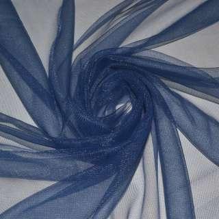 Сетка трикотажная прозрачная мягкая синяя ш.150 оптом