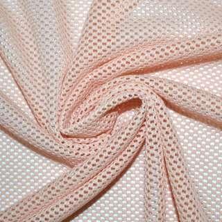 Сетка стрейч трикотажная розово персиковая соты ш.160 оптом