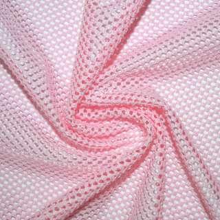 Сетка стрейч трикотажная розовая соты ш.170 оптом