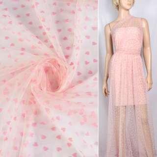 Фатин розовый с розовыми сердечками (флок), ш.150 оптом