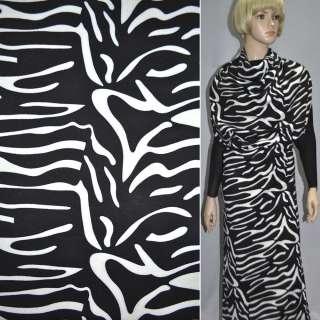 Трикотаж французький чорний з білим принтом зебра ш.148 оптом