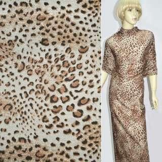 Трикотаж джерсі принт леопард пісочно-коричневий ш.150 оптом