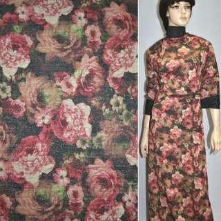 Джерси черное с бордово-бежевыми цветами с блестками ш.156 оптом