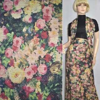 Джерси черное с бежево-розовыми цветами с блестками ш.158 оптом