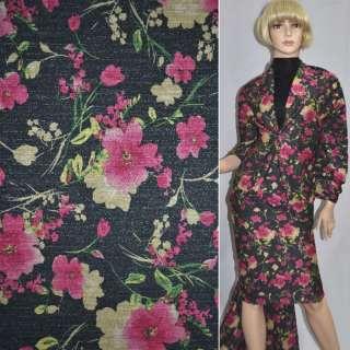 Джерси черное с малиновыми цветами с блестками ш.152 оптом