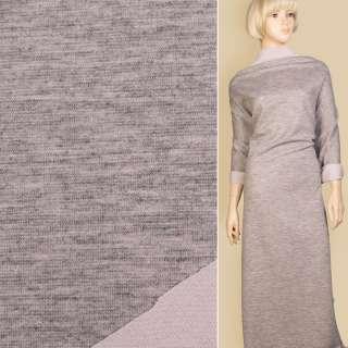 Трикотаж костюмный двухсторонний сиреневый/ серый меланж, ш.150 оптом